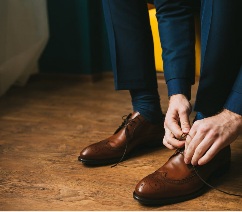 Tying Brown Dress Shoes